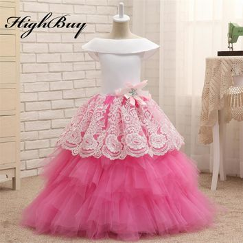 HighBuy 2017 White Satin Pink Puffy Flower Girl Dresses Toddler Ball Gown Girls Vintage Dress Lace Girls Pageant Dresses