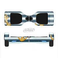 The Navy Striped with Gold Anchors Full-Body Skin Set for the Smart Drifting SuperCharged iiRov HoverBoard