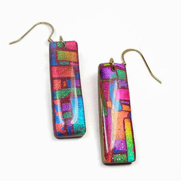 Faux Dichroic Mosaic Earrings- polymer clay earrings- Resin Earrings
