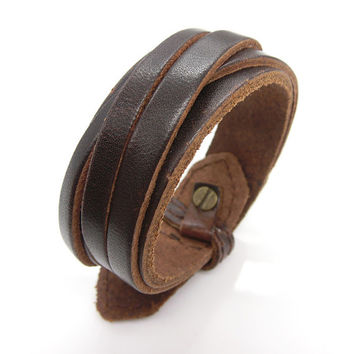 Fashion Punk  Adjustable Leather Wristband Cuff Bracelet  - Great for Men, Women, Teens, Boys, Girls 2763s