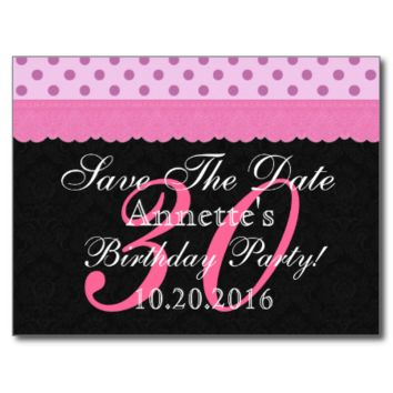 Pink and Black Lace Save the Date Birthday V103 Post Card