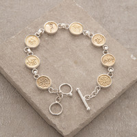 Silver and Gold Om Mani Padme Hum Bracelet