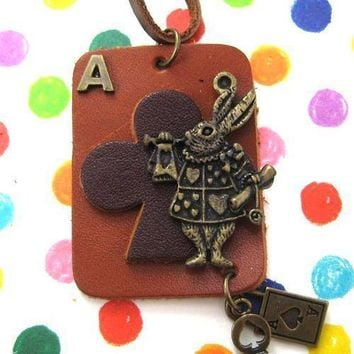 Ace of Clubs Bunny Rabbit Playing Card Pendant Necklace in Leather