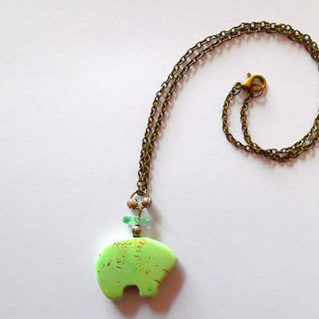 Zuni bear necklace / mint green / brown flecked / howlite / glass chip / silver bead / boho / beaded pendant / bronze chain necklace