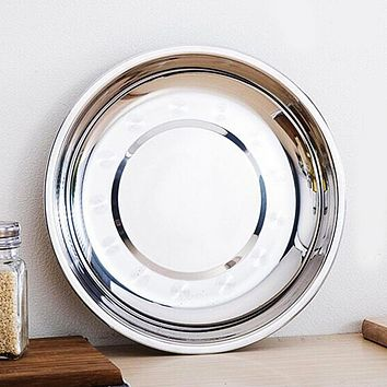 18cm Camping Dia Stainless Steel Silver Tone Tableware Dinner Plate Fruit vegetable melon seeds snacks kitchen Food container