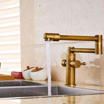 Deck Mount Antique Brass Bathroom Faucet Kitchen Sink Mixer Tap Swivel Spout