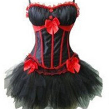 sexy walsoninstyles Burlesque FANCY DRESS Basque Corset Busiter with strap Clubwear Showgirl S-2XL