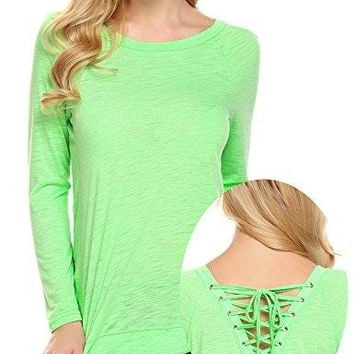 Unibelle Women Cut Out Loose Pullover Criss Cross Long Sleeve Top Tee Blouse