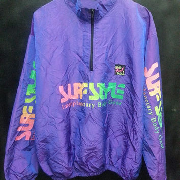 Rare Vintage 80s Surf Style Beach Windbreaker Colouffull Hip Hop Jacket