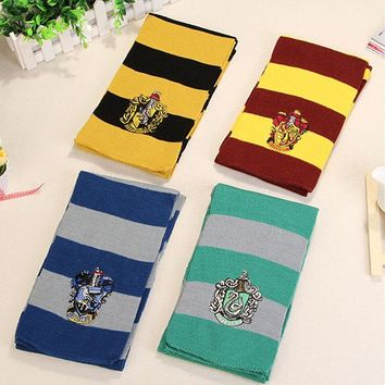 Cool Harri Potter Scarves Gryffindor Slytherin Hufflepuff Ravenclaw Scarves Cosplay Costumes Halloween Gift Hermione Scarf for giftAT_93_12