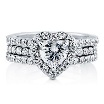 BERRICLE Sterling Silver AAA Cubic Zirconia CZ Halo Heart Womens Engagement Wedding Bridal Ring Set