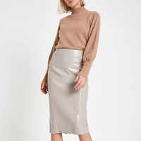 Grey vinyl split hem pencil skirt - Midi Skirts - Skirts - women