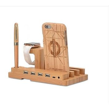 Bamboo 34 Wood Charging Dock Station Charger Holder Stand Iphone