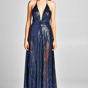 Gia Holiday Sequin Shimmer Maxi Party Dress