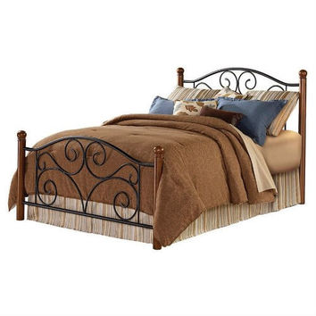 Queen size Black Metal Bed with Wood Post Headboard and Footboard