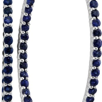 14kt White Gold Womens Round Blue Sapphire Hoop Earrings 3-3/4 Cttw