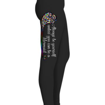 Mermaid Tail Printed Leggings For Women With Multi-colored Wave, Yoga Pants,   Black Workout Pants, Gifts For Yoga Lovers, Ultra Soft Premium High