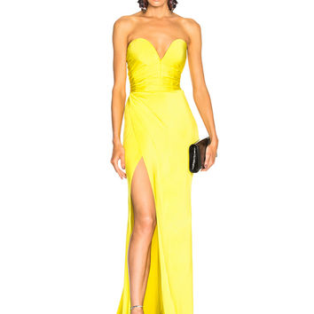 Alexandre Vauthier Shiny Jersey Strapless Gown in Citrine | FWRD