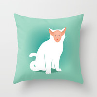Kitty Throw Pillow by trash-id