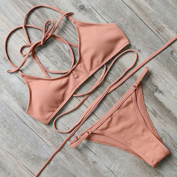 Deep Peach Wrap-Around Bikini