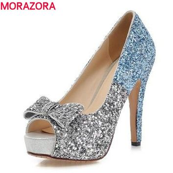 MORAZORA Big size 34-43 high quality women pumps peep toe shoes woman high heeled wedding shoes glitter elegant bride shoes