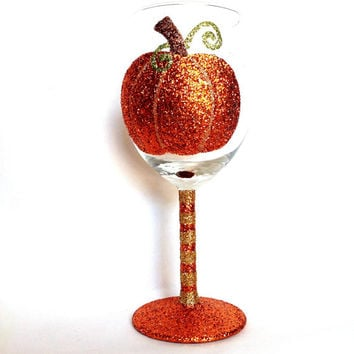Glitter pumpkin wine glass