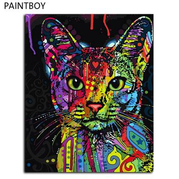 frameless picture painting by numbers abstract animal cat diy oil painting on canvas home decoration for living room 40 50cm