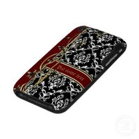 Elegant black white damask and floral border iPhone 3 cover from Zazzle.com
