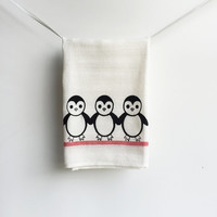 Penguin Kitchen Dish Towel - Black and Cream with Red strip - Penguins, Christmas, Winter, Housewarming gift, Decor, Tea Towel.