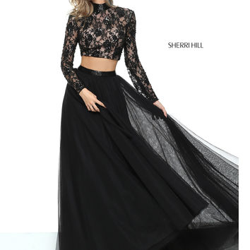 Sherri Hill 50821 Long Sleeved Crop Top Prom Dress