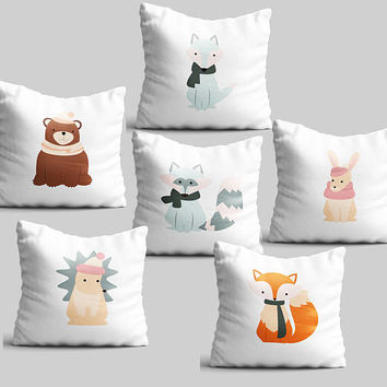 Throw pillow set of 6 cute animals gift kids bedroom pillow case cushion cover nursery decor educational pillow winter pillow cover PKG6