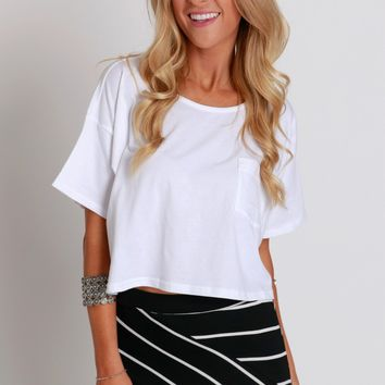 Far From Basic Cropped Tee White