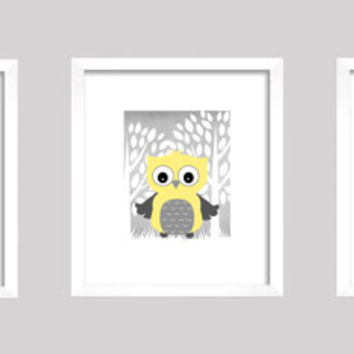 Gray Yellow White Enchanted Forest with Owl, CUSTOMIZE YOUR COLORS, 8x10 Prints, set of 3, nursery decor nursery print art baby room decor