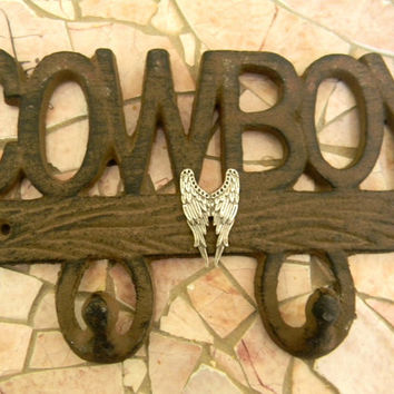 Angel Wings, Rustic Wall Decor, Cast Iron Metal Wall Hook, Silver Wings, Cowboy, Guardian Angel, Fairy Wings, In Loving Memory, Memorial