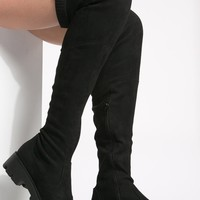 Black Faux Suede Thigh High Hiker Boots @ Cicihot Boots Catalog:women's winter boots,leather thigh high boots,black platform knee high boots,over the knee boots,Go Go boots,cowgirl boots,gladiator boots,womens dress boots,skirt boots.