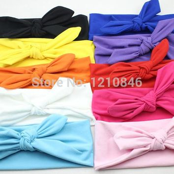 New children Headwrap Cotton Bow Knot Headband for Girl Hair Accessories Fashion Bunny Ears Bow Hairband Headwear Free Shipping