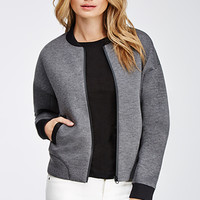 Heathered Scuba Knit Bomber Jacket