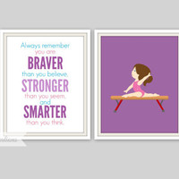 Gymnastics Print / Always remember you are Braver quote - Nursery Wall Art - Girls Room Decor - Gymnastic Nursery - Personalized Name Print
