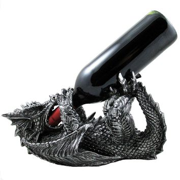 Mythical Dragon Wine Bottle Holder Statue in Medieval & Fantasy Bar or Kitchen Table Decor Sculptures and Decorative Gothic Racks and Stands As Gifts for Wine Lovers