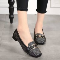 Louis Vuitton LV Slip-On Women Fashion Leather Low-heel Shoes
