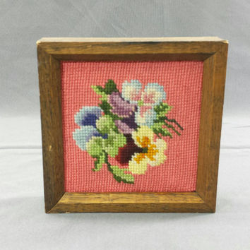 Vintage Needlepoint Flower Pictures, Framed Cross Stitch, Floral Tapestry, Handmade Art, Collage Wall Hangings, Completed Crewel Embroidery