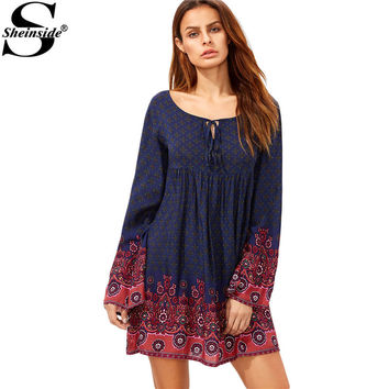 Sheinside Navy Tie Neck Floral Print Short Dress Bohemian Clothing 2016 Fall Ladies Round Neck Logn Sleeve Shift Mini Dress