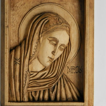 Weeping Madonna, wooden icon, hand-carved icon weeping Madonna, orthodocsal icon, exquisite Orthodox Holy Icon