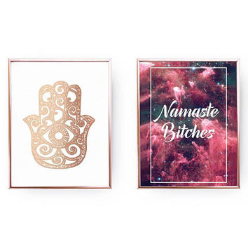 Set Of 2 Prints, Hamsa Poster, Namaste Bitches, Home Decor, Gold Foil Print, Yoga Decor, Typography Print, Hands Of Fatima, Sarcastic Art