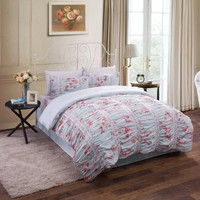 Ruched Floral Cotton Bedding Comforter Set - Walmart.com
