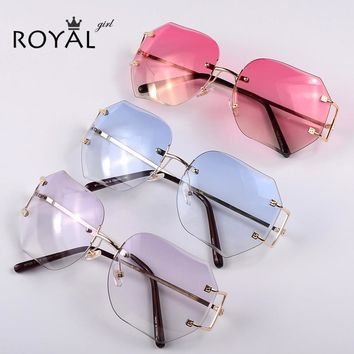 ROYAL GIRL Women Unique Rimless Sunglasses Oversize Vintage Frames Shades Ombre Eyeglasse ss354