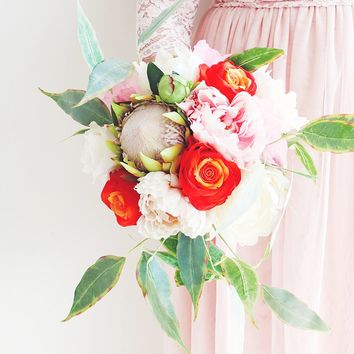 One of a Kind Protea and Rose Wedding Bouquet - Ships Alone