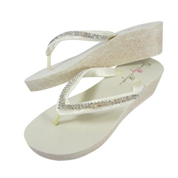 2 inch Glitter and Diamond Wedge Wedding Flip Flops, Ivory or White