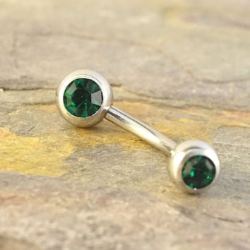 Simple Silver and Emerald Green Belly Button Ring Jewelry