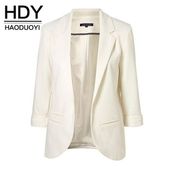 HDY Haoduoyi 2018 Autumn Slim Fit Women Formal Jackets Office Work Open Front Notched Ladies Blazer Coat Hot Sale Fashion
